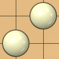 2x2 area with two diagonally adjacent white stones and two empty points