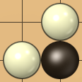 2x2 area with two diagonally adjacent white stones and one black stone